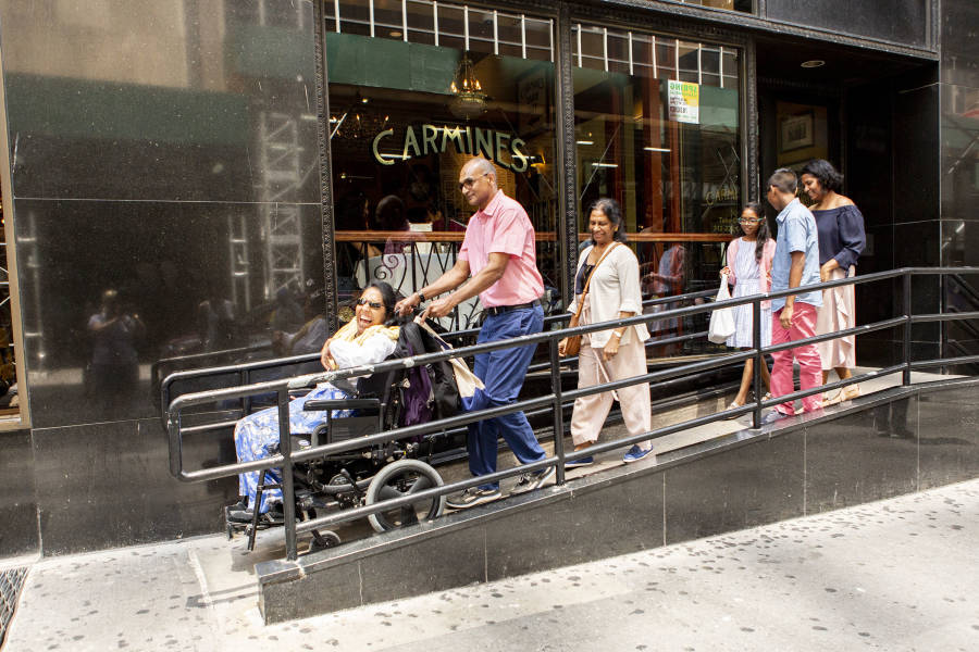 Wheelchair access at Carmine's in Times Square.