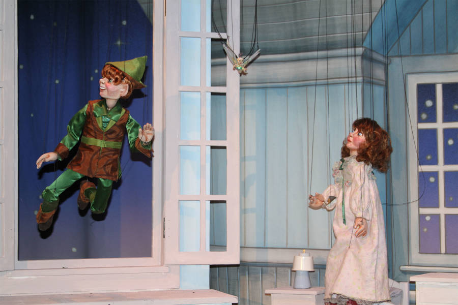Peter Pan, Tinker Bell, Marionette Theatre, Marionette Show, Swedish Cottage, New York Marionette Show, Kids Marionette Puppet Show