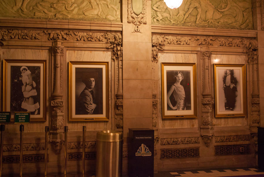 Photograph's in the lobby of the New Amsterdam Theater