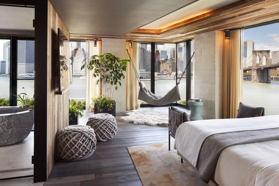 room, interior, hammock