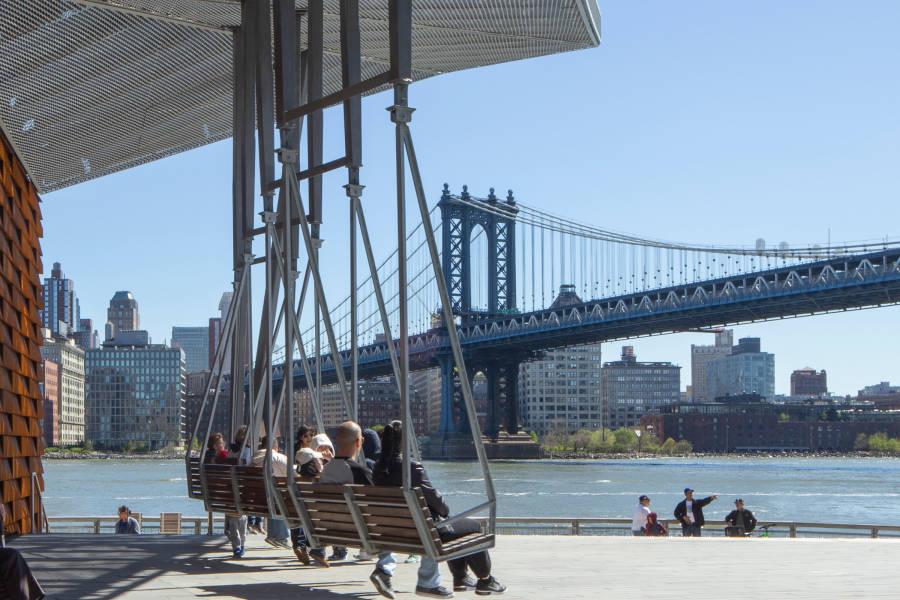 swings, river view