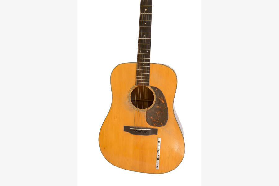 Model D-18 acoustic guitar, C.F. Martin & Co.1942 Spruce, mahogany, rosewood, metal, plastic. Collection of Michael and Barbara Malone. Photo: Courtesy of Jules Frazier