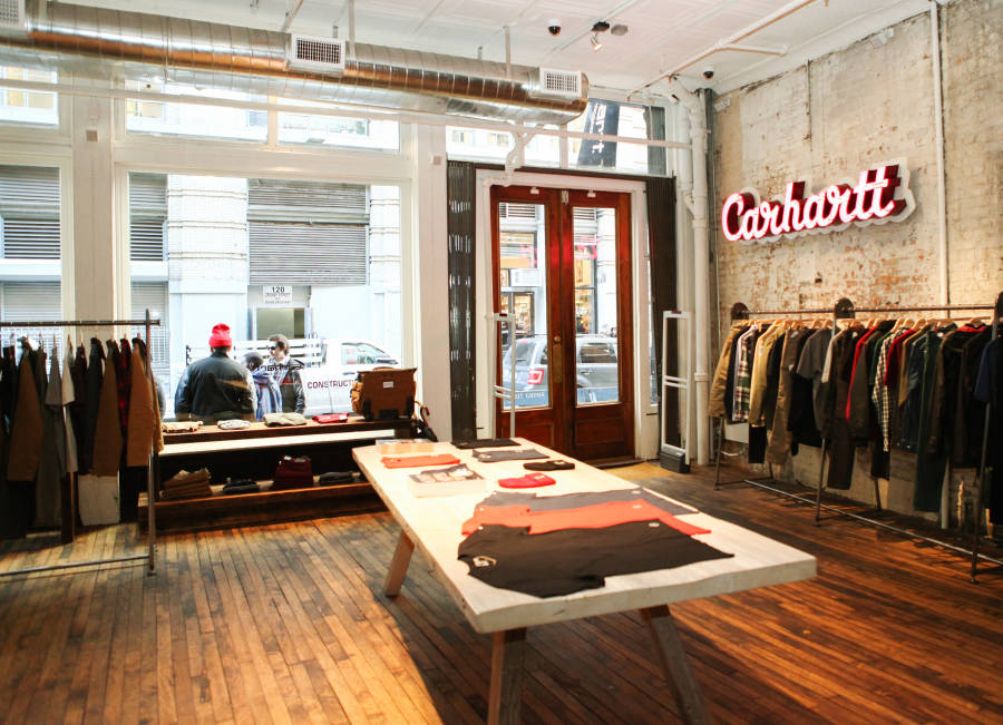 Interior of Carhartt WIP's in Soho Manhattan