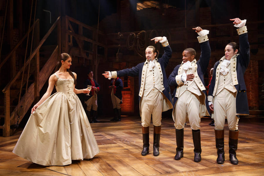 Lin-Manuel Miranda and Leslie Odom Jr. (2nd and 3rd from the right) in Hamilton