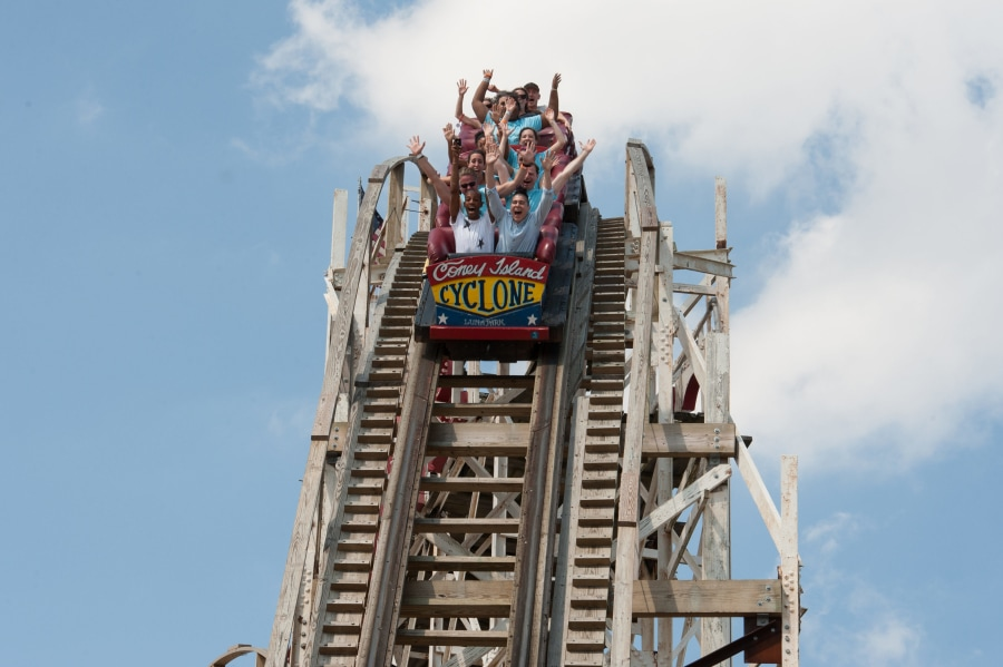 People riding The Cyclone in Coney Island
