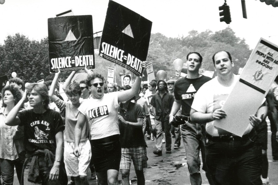 Eugene Gordon, ACT UP activists at Pride March, 1988. New-York Historical Society Library