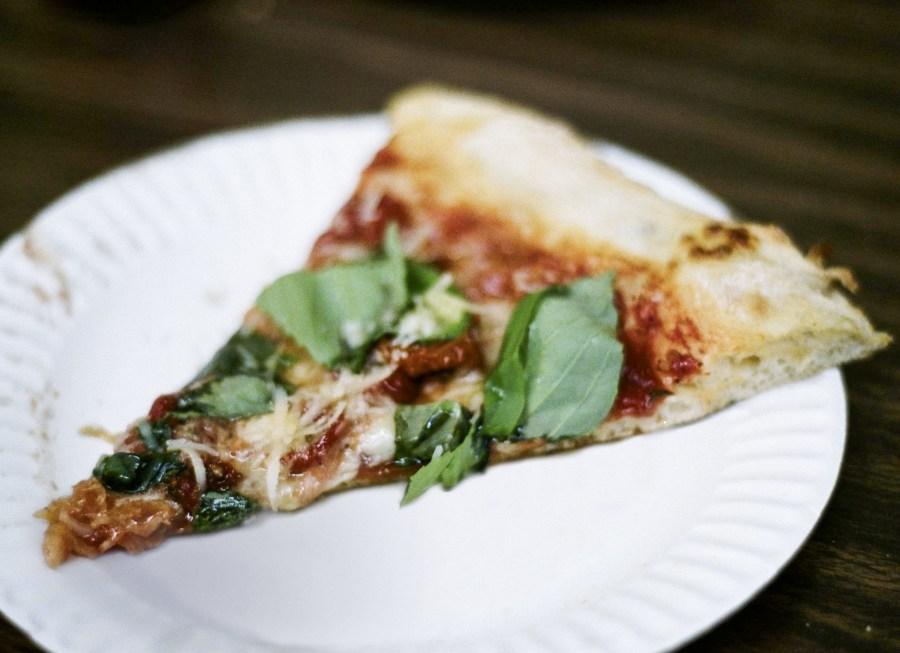 Semi dried cherry tomato slice from Di Fara Pizza in deep Brooklyn