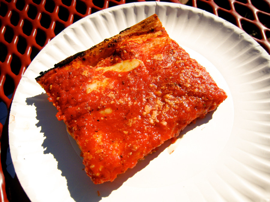 Sicilian slice from LB Spumoni Gardens in Brooklyn
