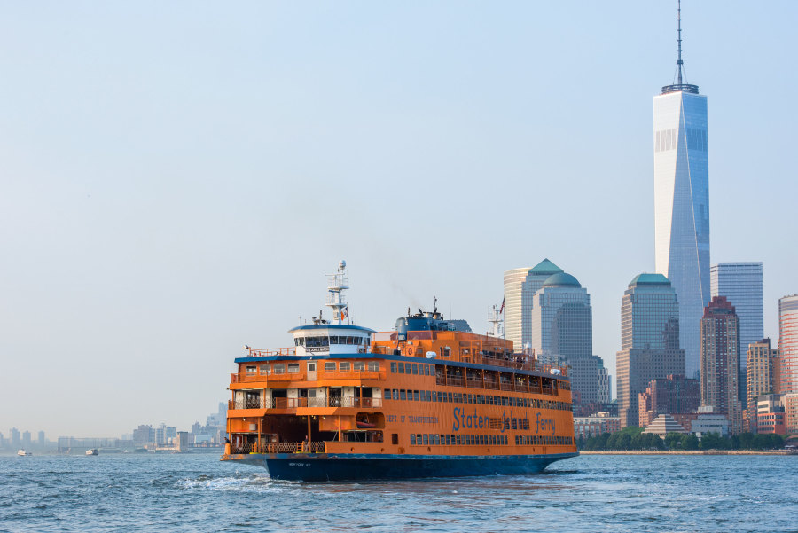 View of lower manhattan from the Staten Island Ferry heading into the manhattan terminal