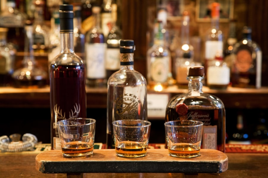 Selection of fine whiskeys and bourbon at the whiskey ward in the Lower East Side