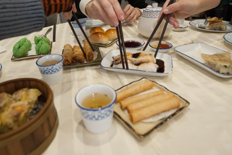 dim sum, food, table