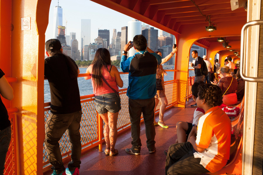 People riding the Staten Island Ferry