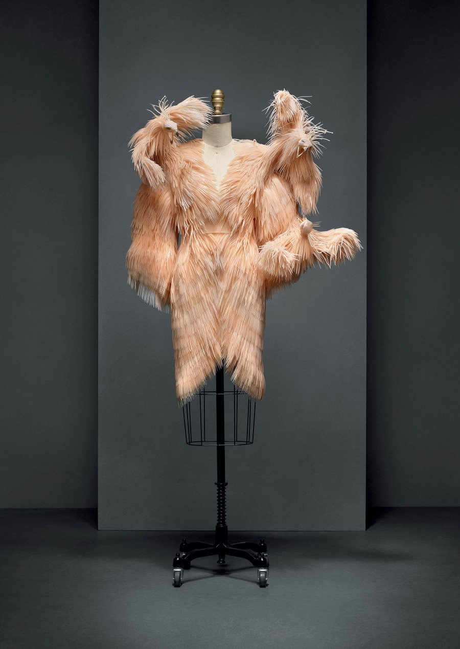 Dress (2013-14), by Iris van Herpen, in the Manus x Machina exhibition at The Metropolitan Museum of Art on the museum mile
