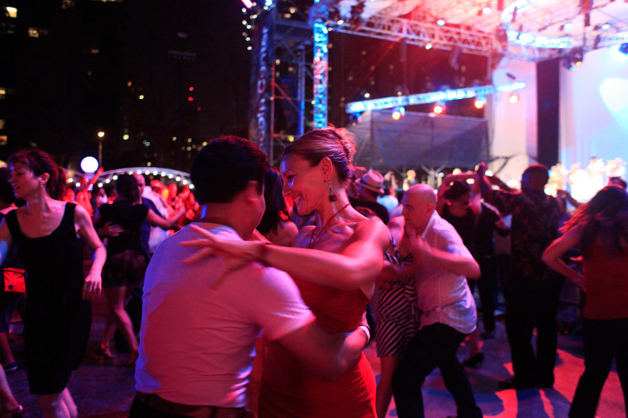 dancers enjoy Midsummer Night Swing at Lincoln Center in Manhattan
