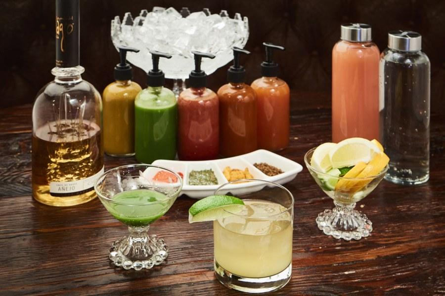 cocktails, food