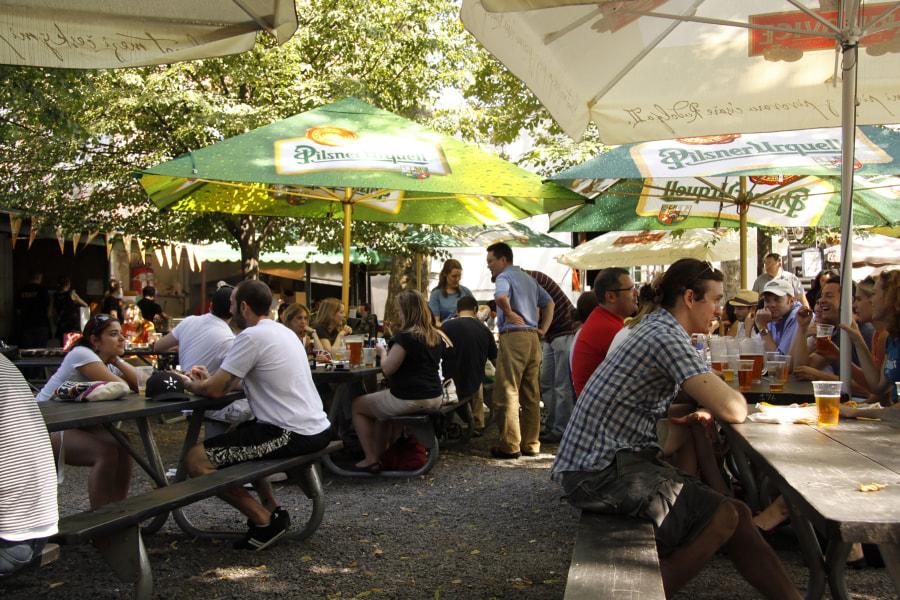beer garden, bohemian beer garden, summer day, beer